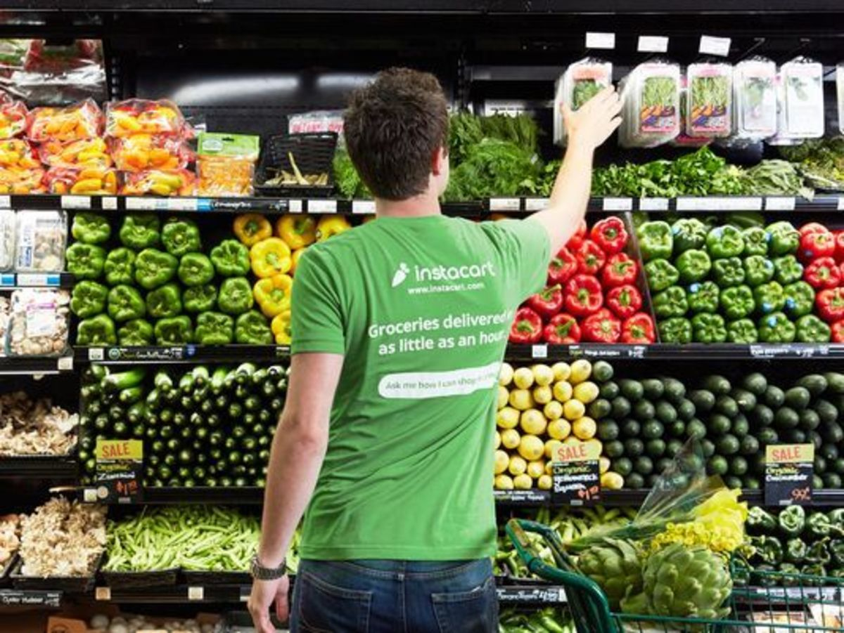 An Instacart shopper picks up the grocery items that are ordered, then delivers them directly to the customer's house.