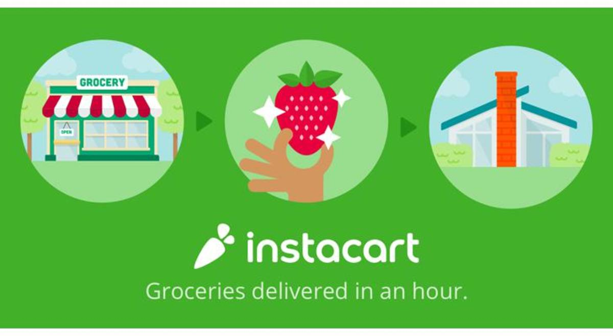 Instacart advertises that a shopper can make up to about $25 an hour delivering groceries, which includes an hourly wage plus tips and other bonuses.