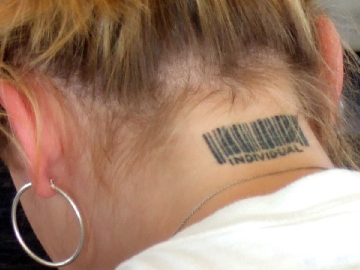 This individual can hide her tattoo, if needed, by simply wearing her hear down.