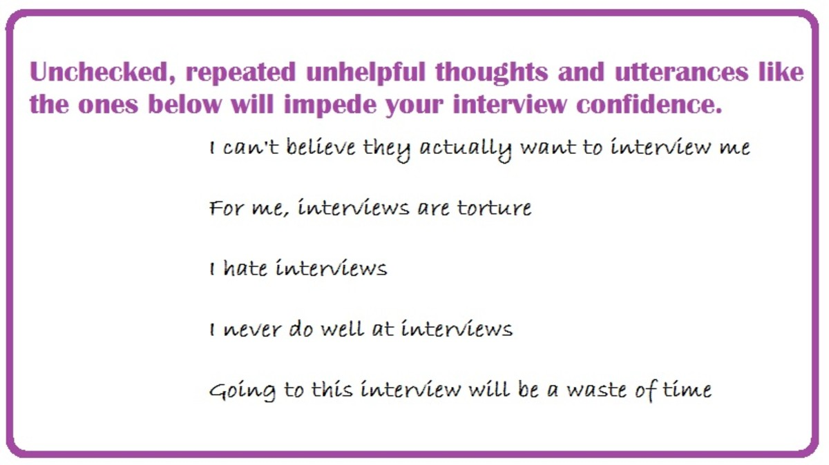 Be Prepared for your Interview and Be Prepared to Counter Unhelpful Thinking