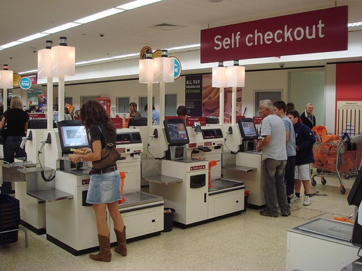 Retailers are replacing cashiers with self-scanning kiosks.