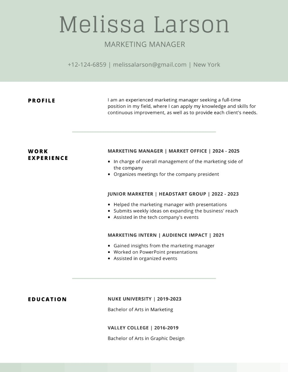 This resume template and design looks decent from afar. But it is missing some key elements. Can you see them?