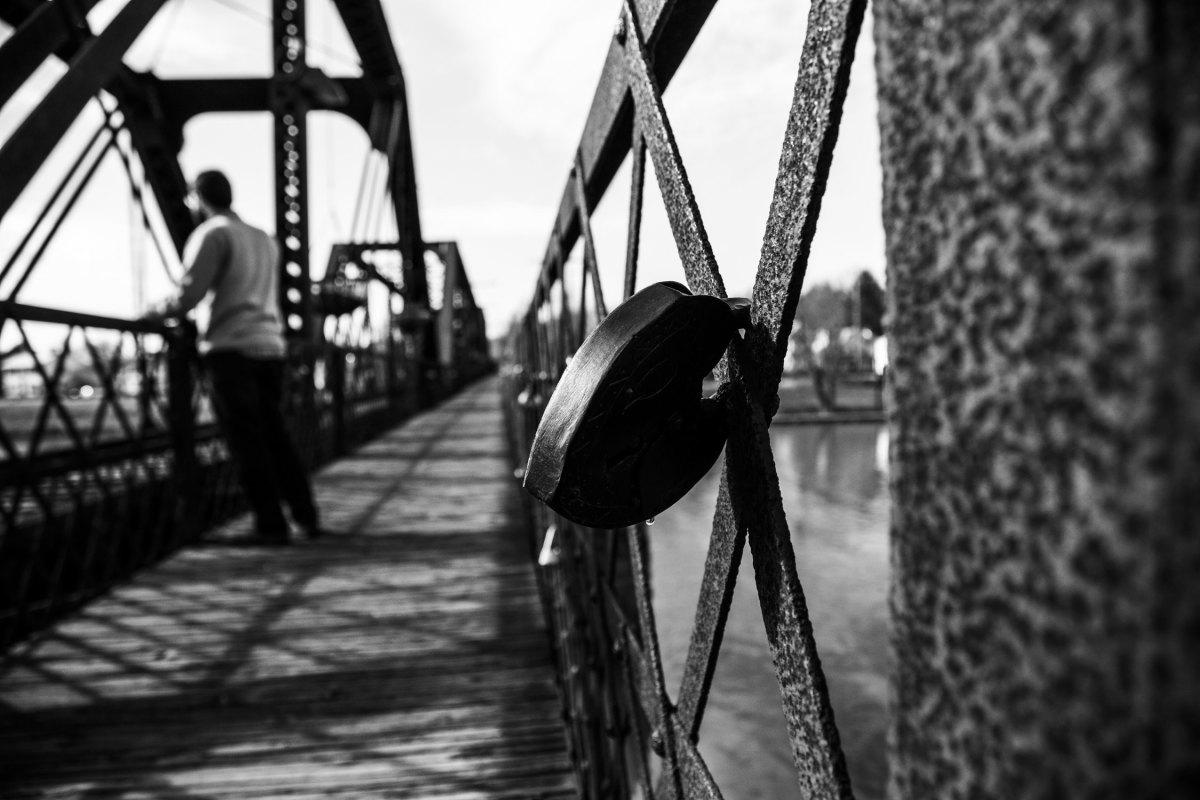 A lock on a bridge.
