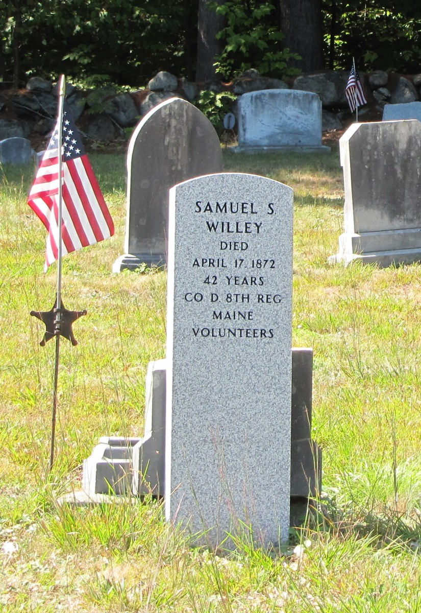 A grave for a Civil War soldier in New England -  Samuel S. Wiley. He died April 17, 1872. He served in Company D, 8th Regiment Maine Volunteers.