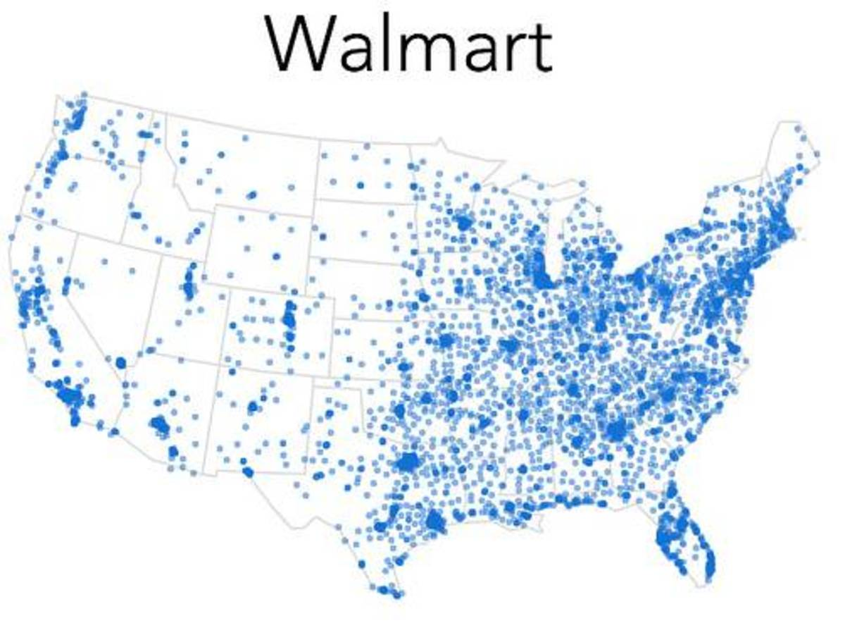 Maps of Walmart locations in the United States