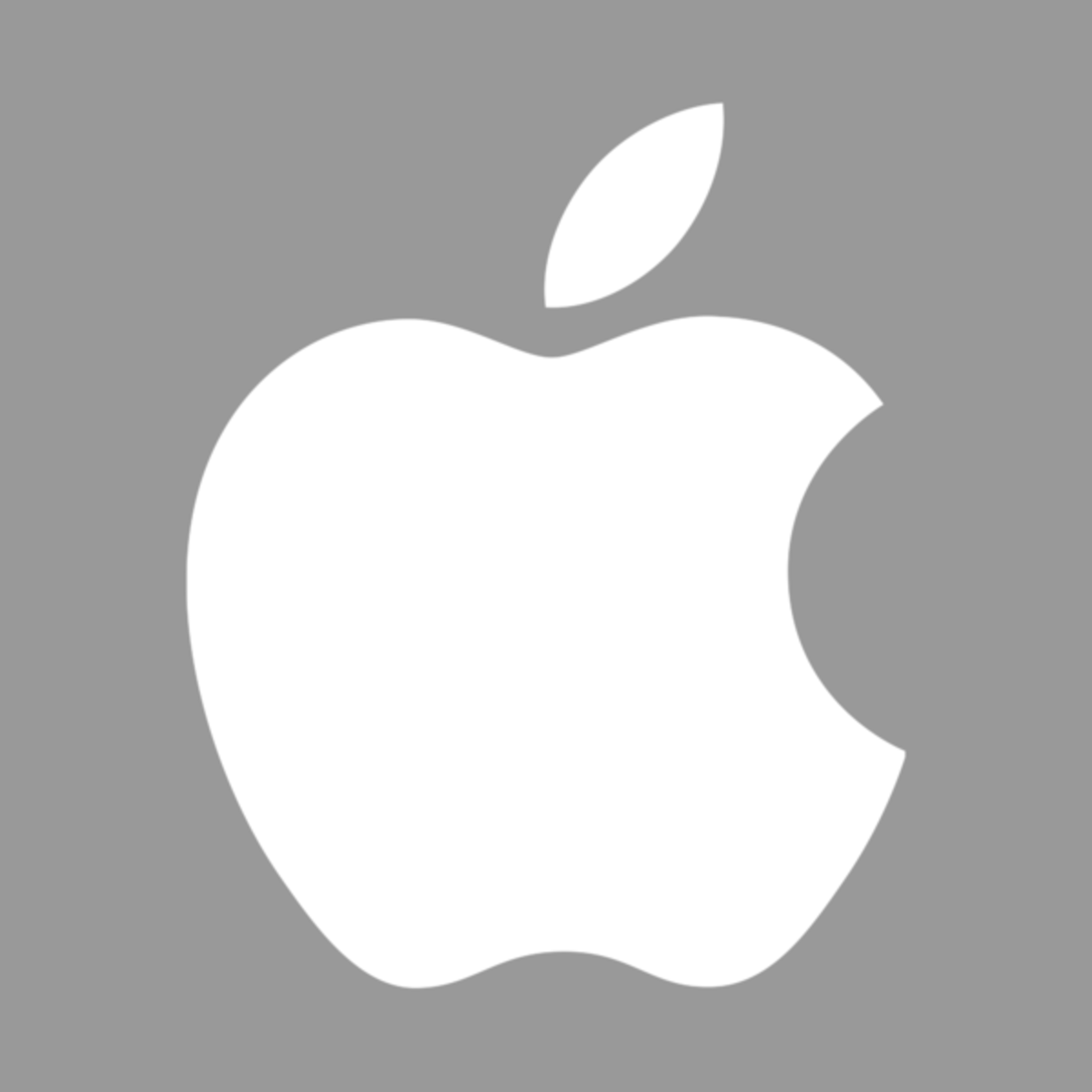 Gray and white Apple logo. The design of the logo started in 1977 designed by Rob Janoff with the rainbow color theme used until 1999 when Apple stopped using the rainbow color theme and used a few different color themes for the same design. Apple