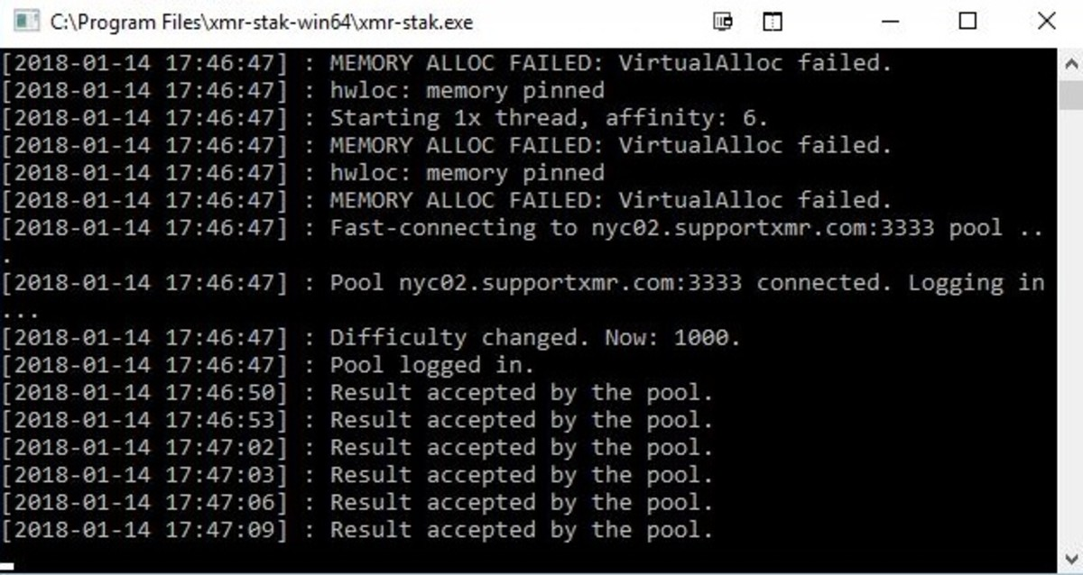 """XMR-Stak Miner in operation. When XMR-Stak is successfully mining you should begin seeing messages that state """"Result accepted by the pool"""" from the client."""