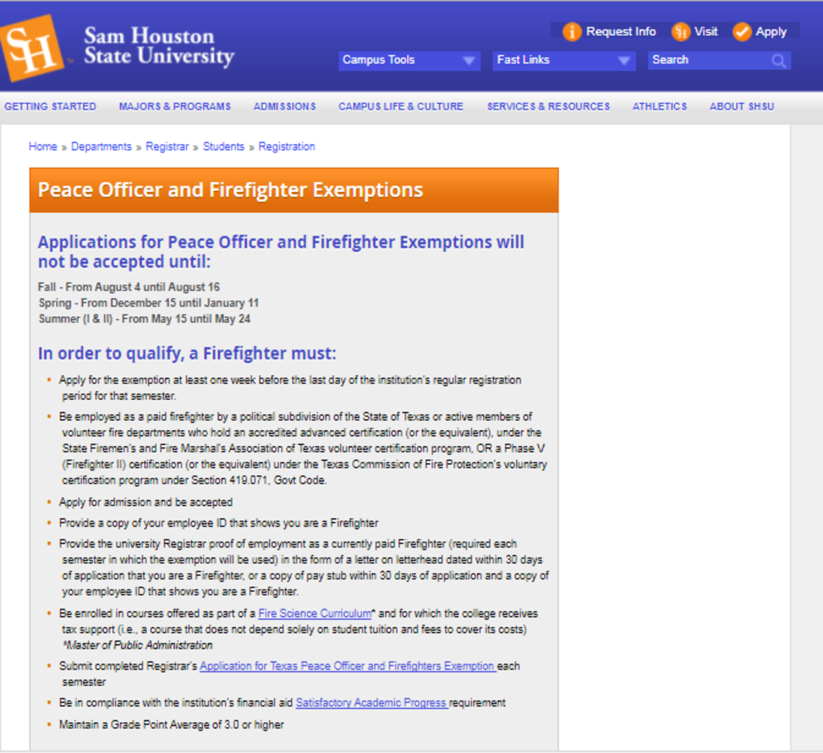 An example of SHSU's exemption application process.