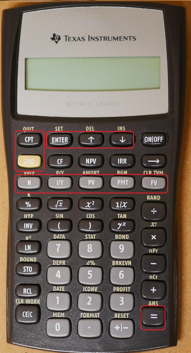 The time value of money keys on this calculator are on the third row down. With these keys one can compute present values, future values, the number to years to accrue, payments, and interest.