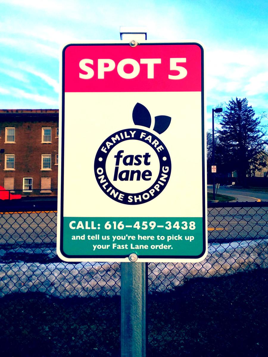 A Family Fare Fast Lane sign.