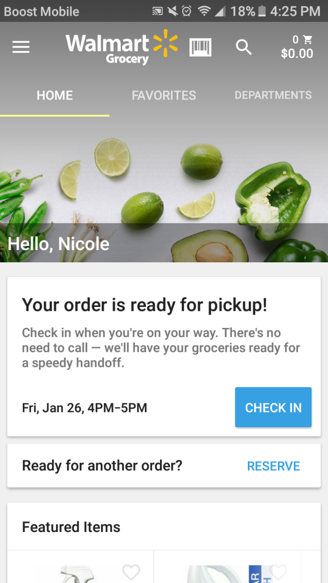 Screenshot of the Walmart Grocery Pickup service in action.