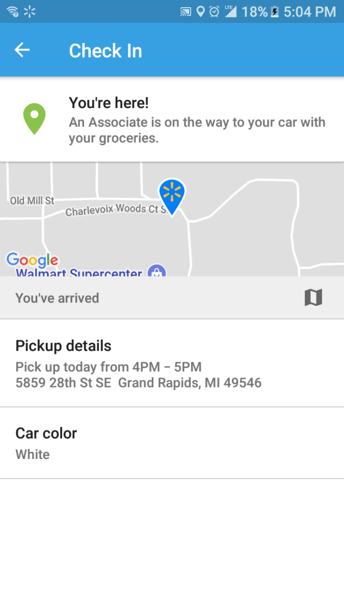 You check in when you've arrived to pick up the groceries.