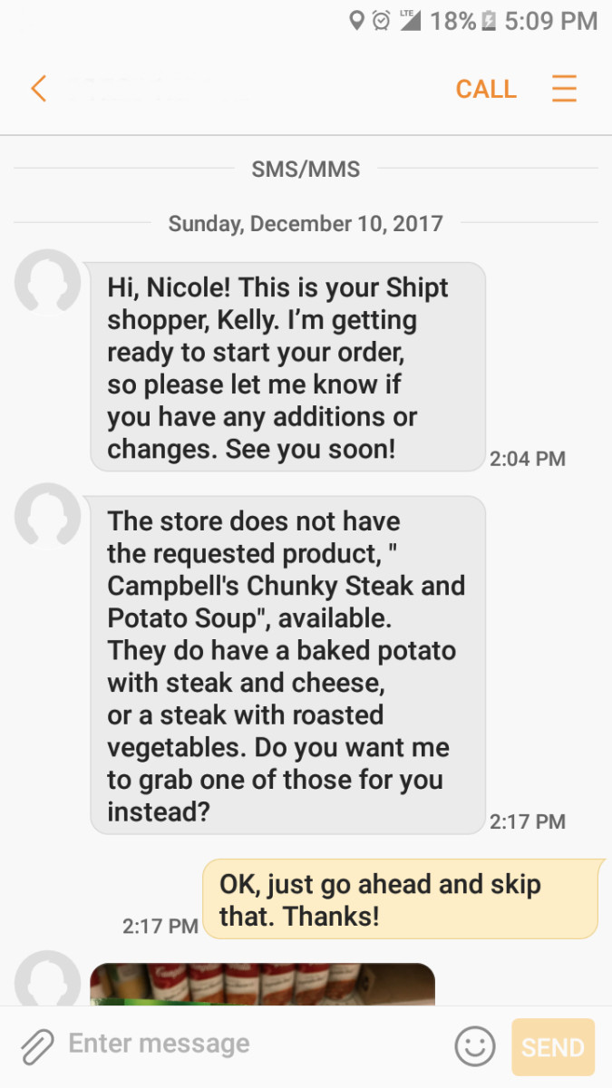 Text message from my Shipt shopper asking me about a substitution preference.