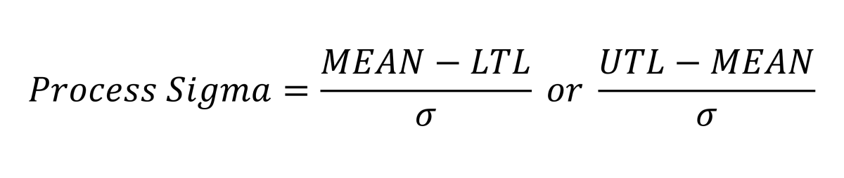 The equations above are used to find process sigma.  The lowest of the two outcomes will be called process sigma.