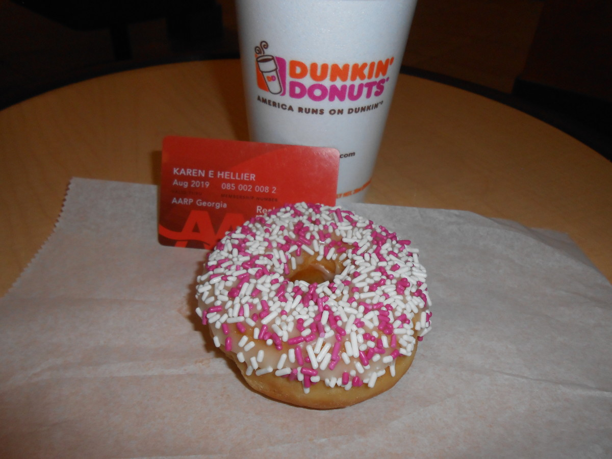 Every Tuesday I go thrift store shopping for items to resell on eBay. I always go to Dunkin Donuts and post a picture of my coffee and the free donut I get with my AARP card.
