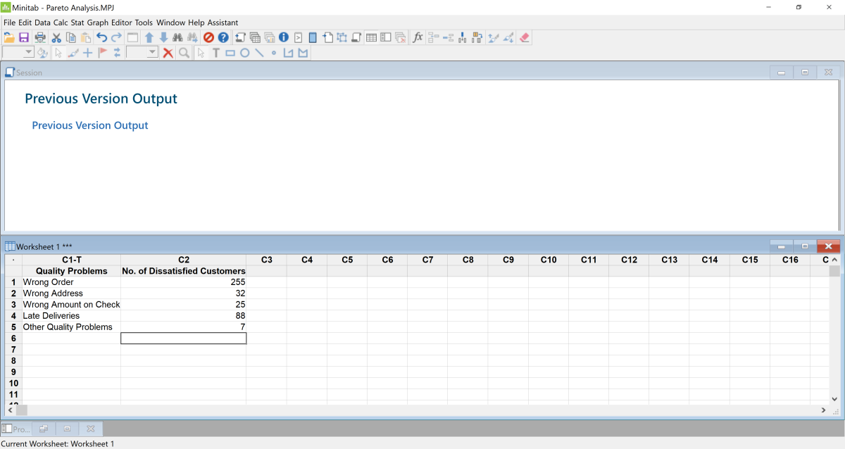 Data can be easily pasted directly into Minitab from Microsoft Excel.