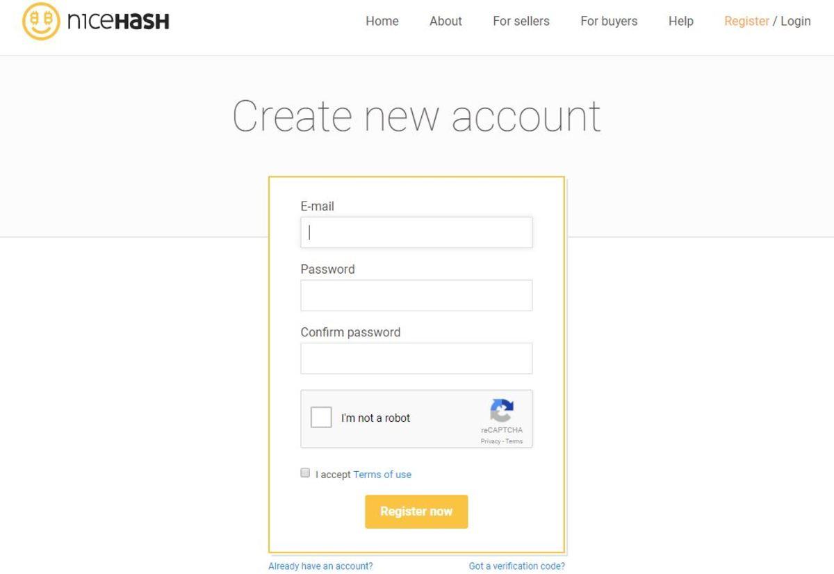 Nice Hash Login Interface