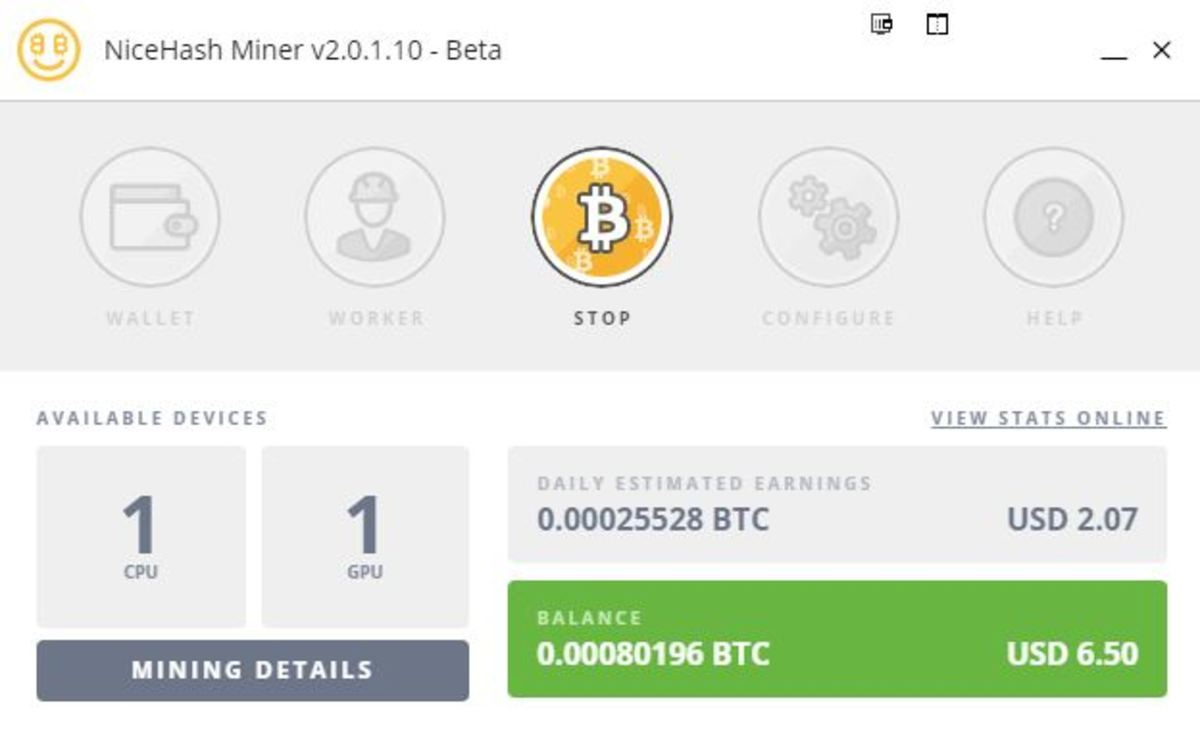 NiceHash miner in operation.
