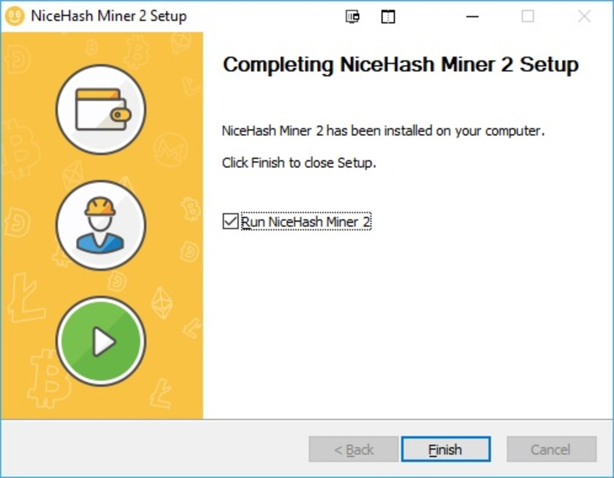 Completing the installation of NiceHash Miner 2 for Nvidia users.