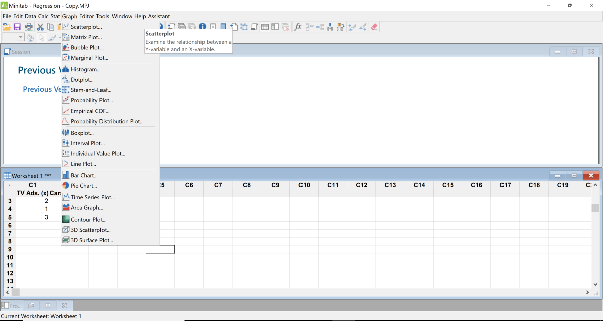 Click the tab graph and select Scattered Plot.