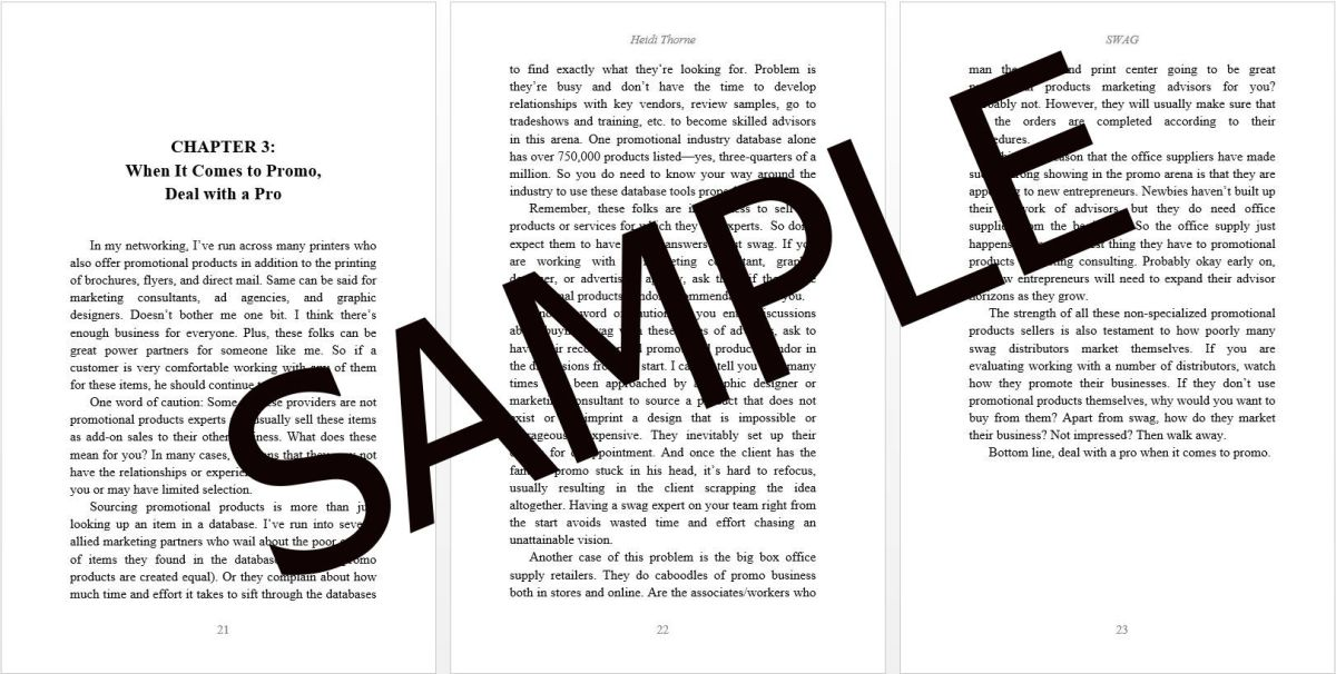 Portfolio sample showing book formatting.