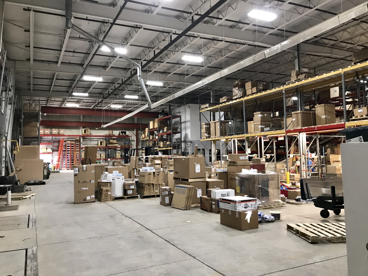 Shipping area in a contractor supply and distribution warehouse.