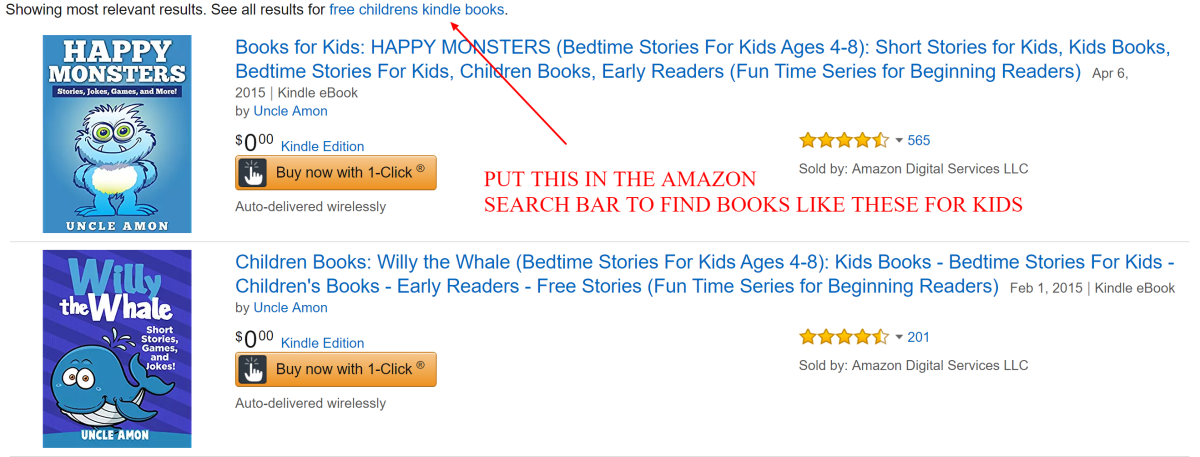 "Go to the Kindle books category on Amazon and enter the words ""free ebooks for children"" in the search bar."