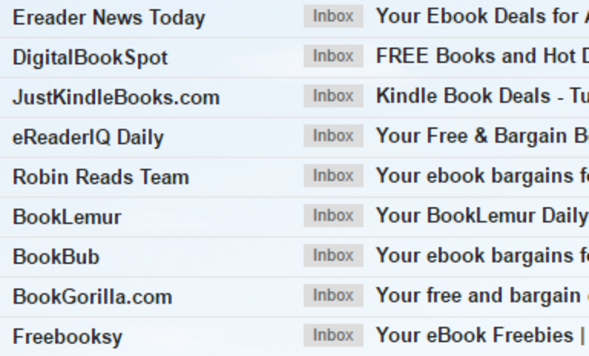 This screenshot shows my email inbox with the messages alerting me to book deals.