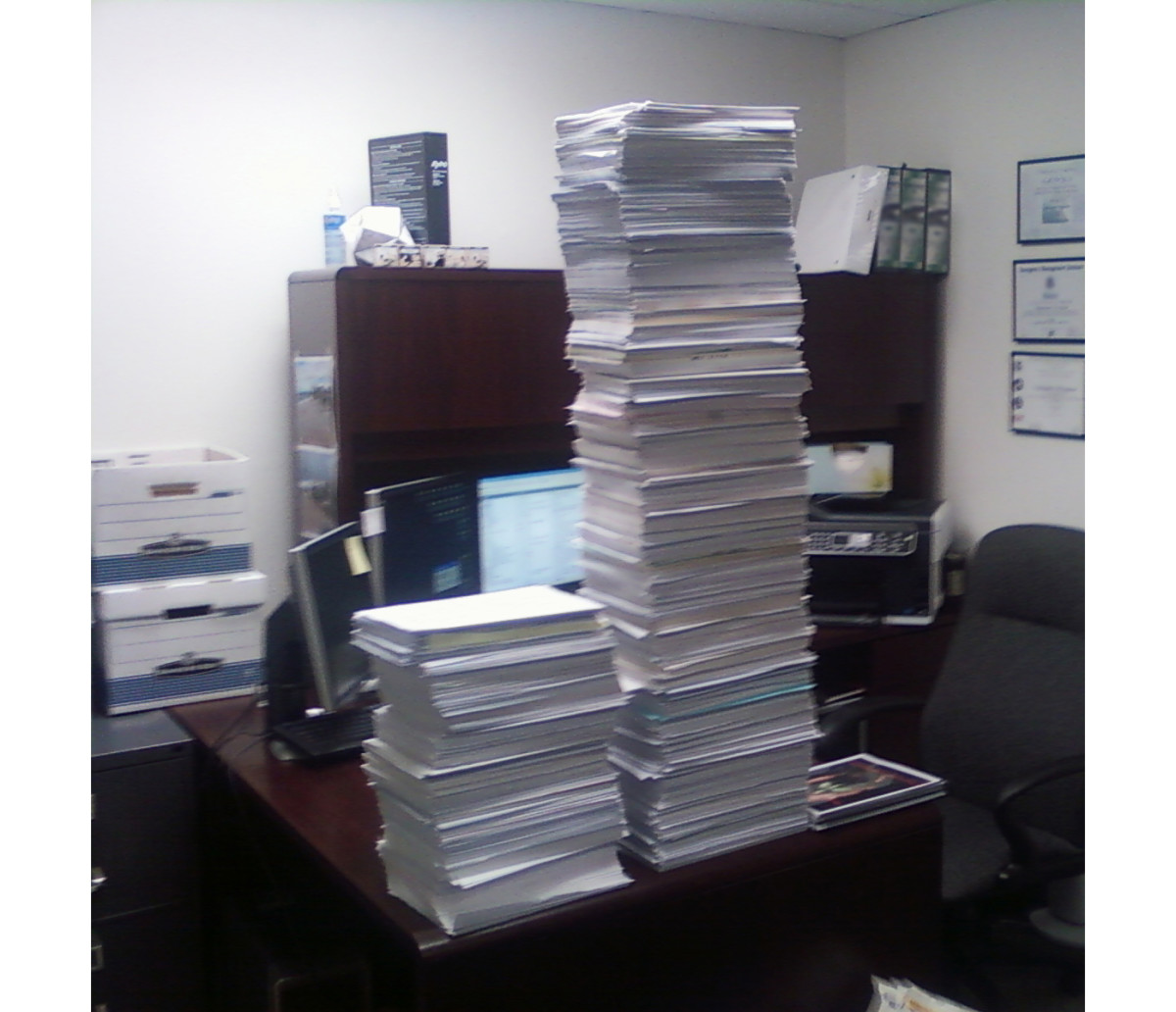 An actual stack of paper from my desk around 8 years ago.
