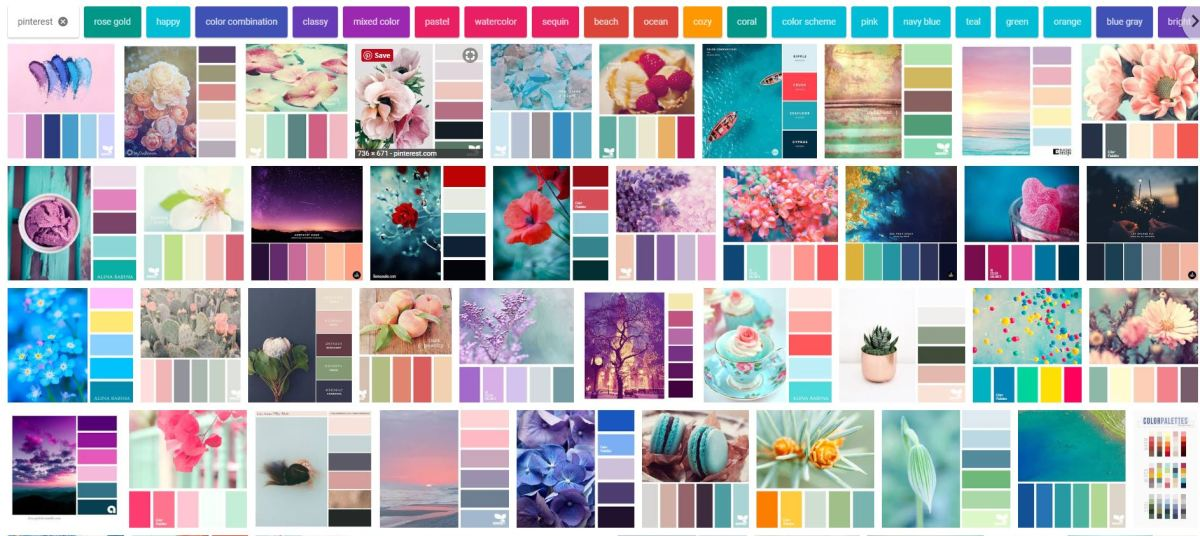 "Here's a sampling of colors that came up in the Images section of Google after doing a search for the term ""color palettes"""