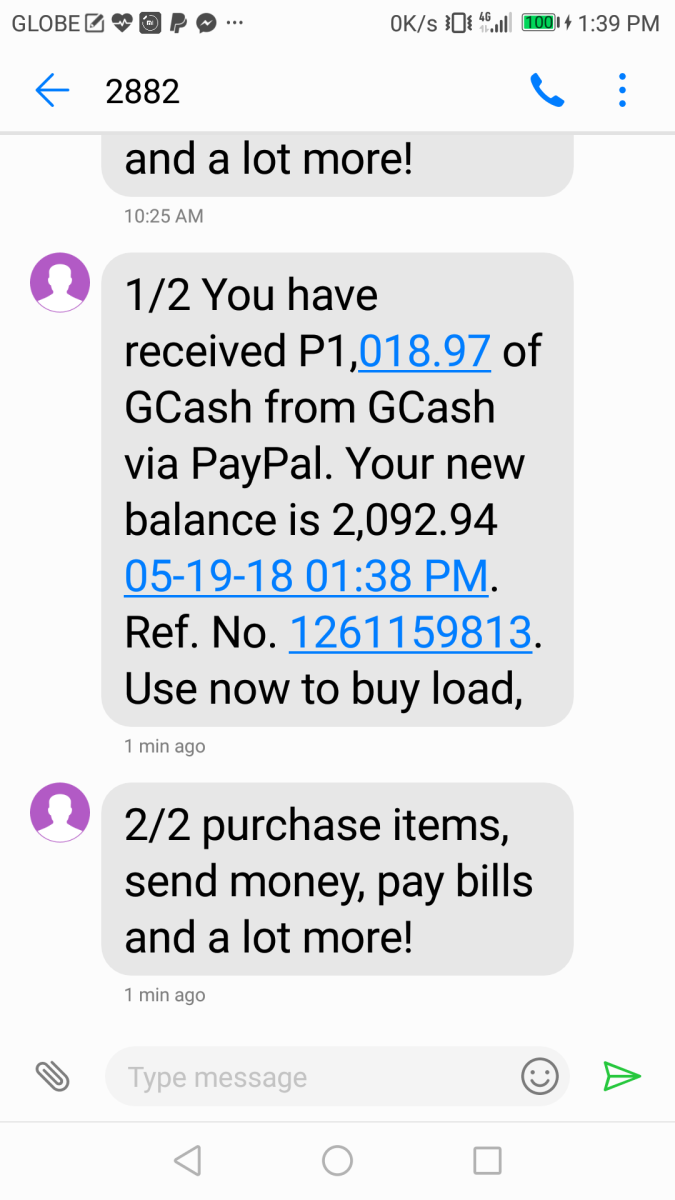 You will then receive an SMS informing you of the received amount in peso
