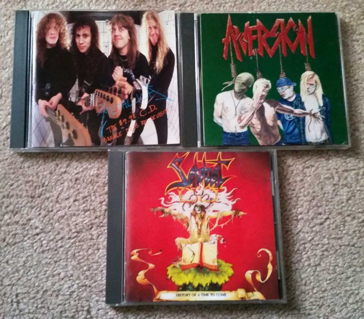 Who dumps classic, collectible thrash metal CDs like these at Goodwill? Shame on you, but good for me.