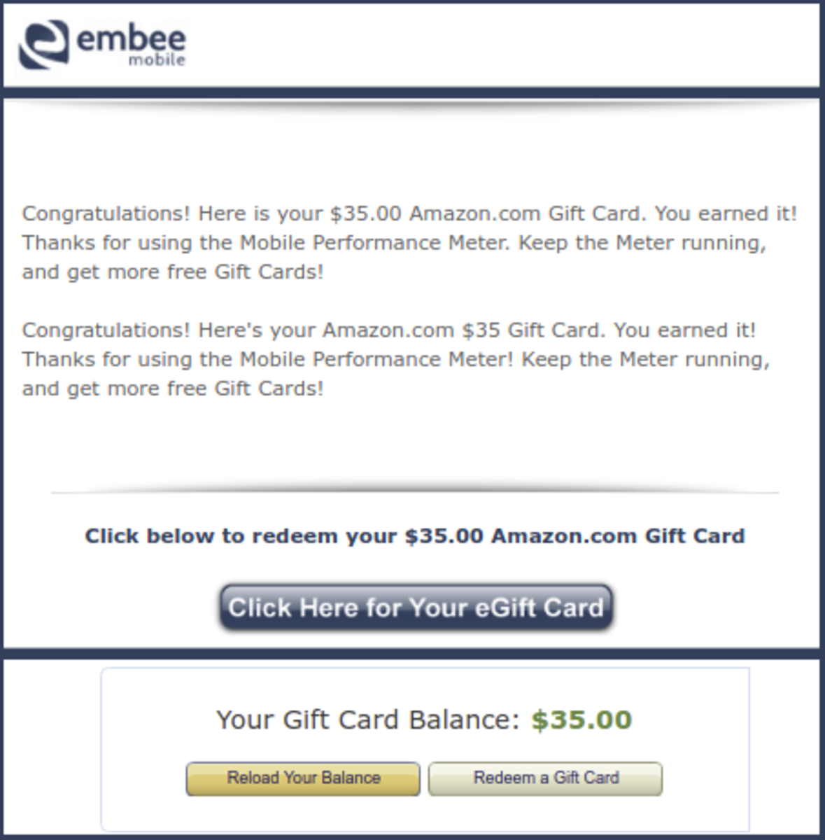 Email from Embee with my Amazon gift card and my Amazon balance.
