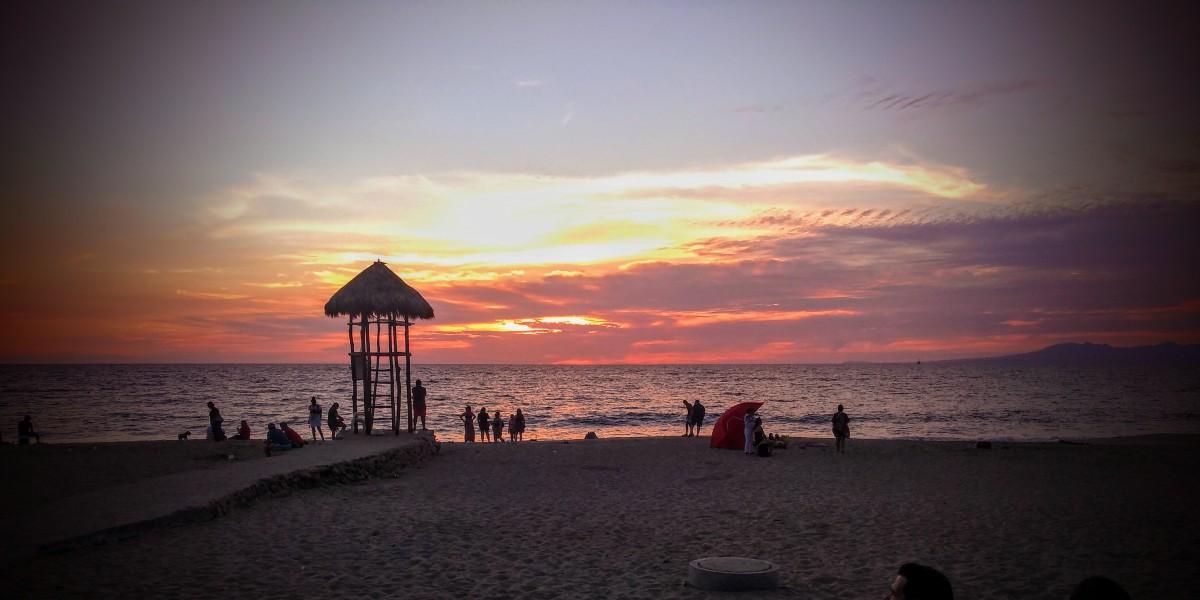 Beautiful beach at sunset.