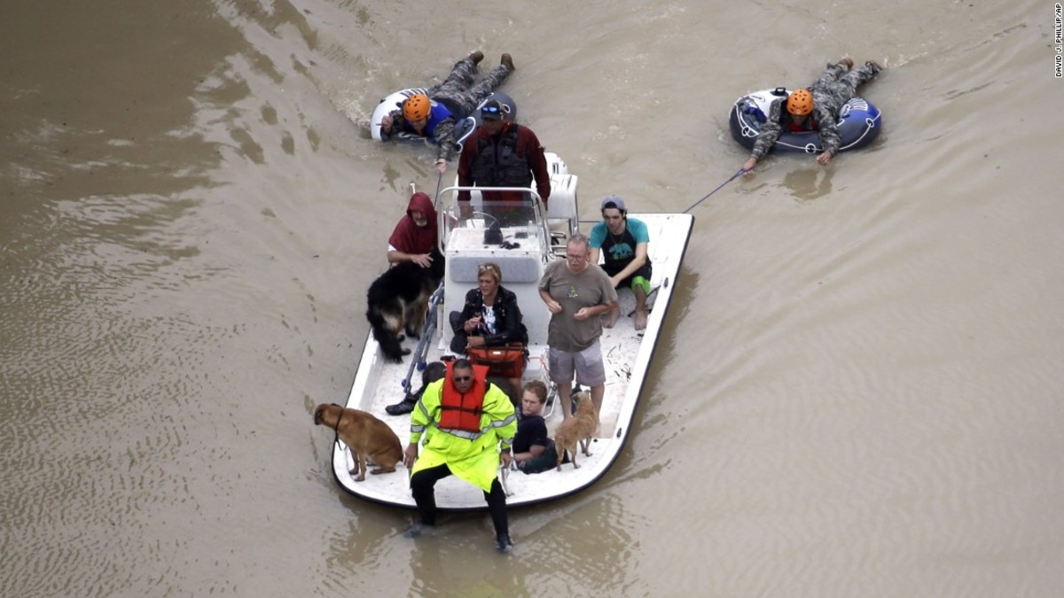 Rescues on a raft in Houston, TX.