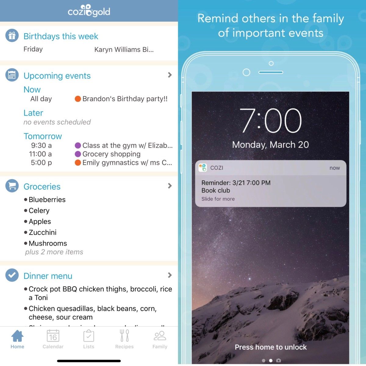 Cozi homepage and screen shot of pop up reminders