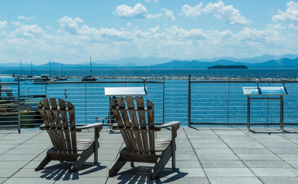 Lake Champlain, aside Burlington's bay, facing New York's shore.