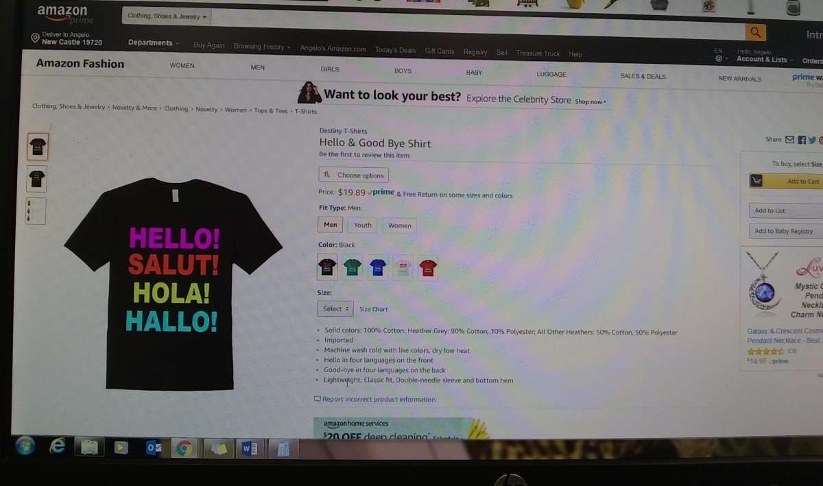 照片显示了一件我个人设计的T恤,通过Photoshop设计,并通过亚马逊Merch推出亚马逊市场。