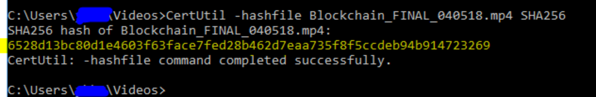 Command Prompt - Hash 256