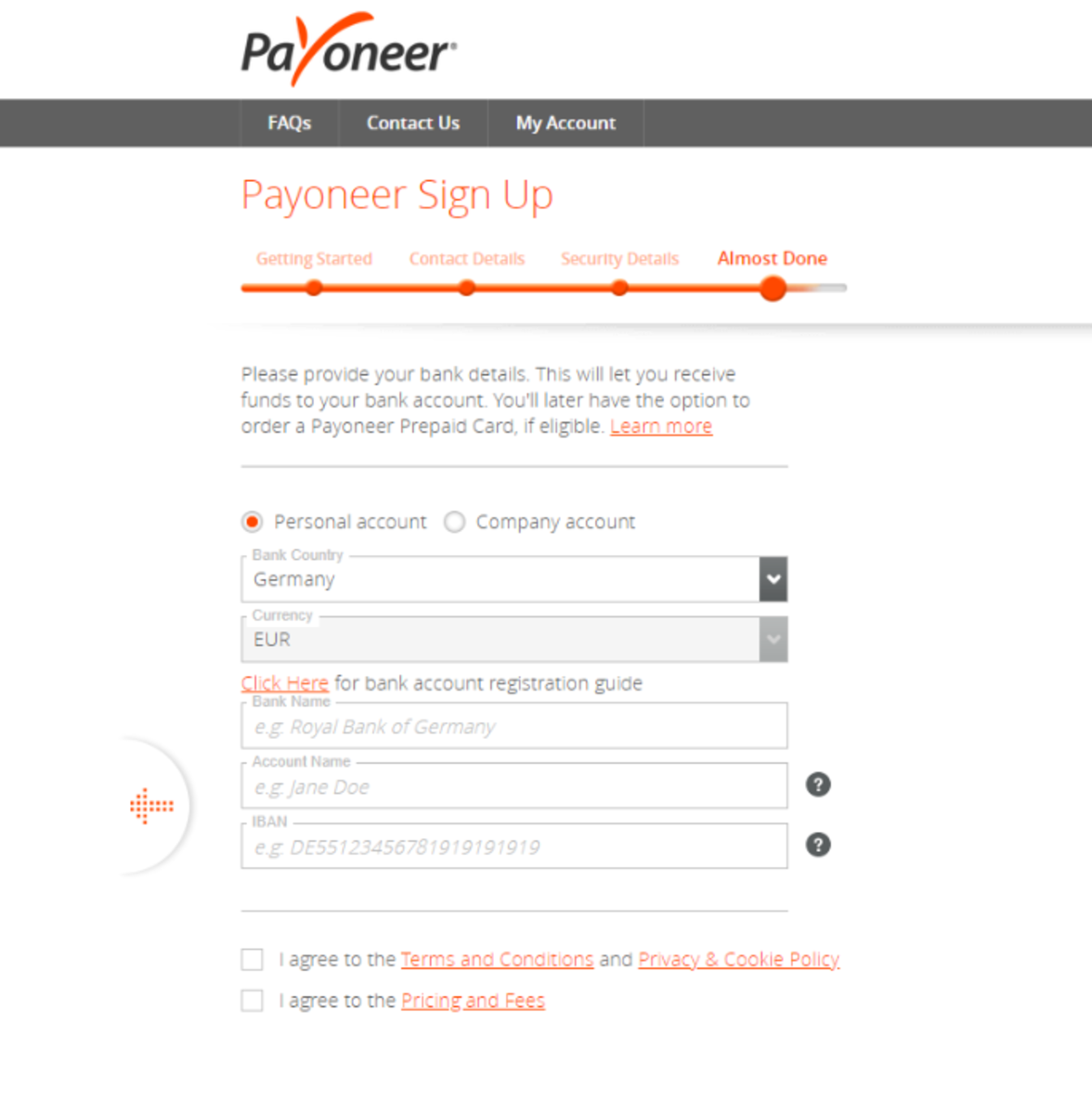 Is Payoneer safe? Signing up for a virtual bank account requires local bank details.