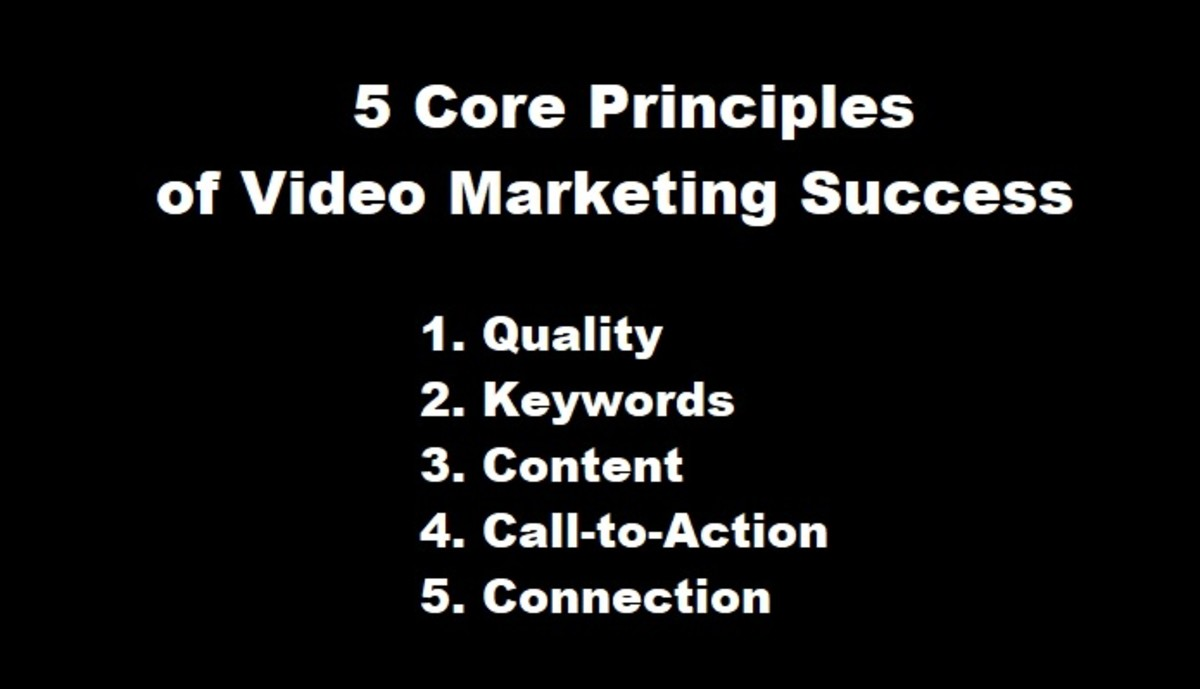 The five essential principles of video marketing success are quality, keywords, content, call-to-action, and connection