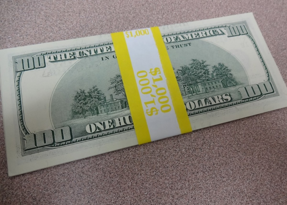 Bank strapped hundred dollar bills become like Monopoly money after a while.