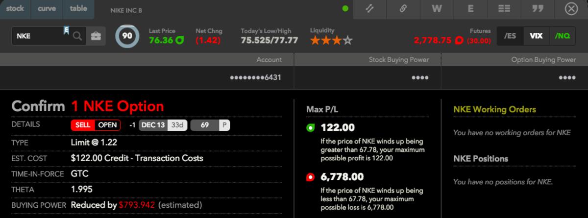Live trade on Nike shares - Cash secured put option selling.