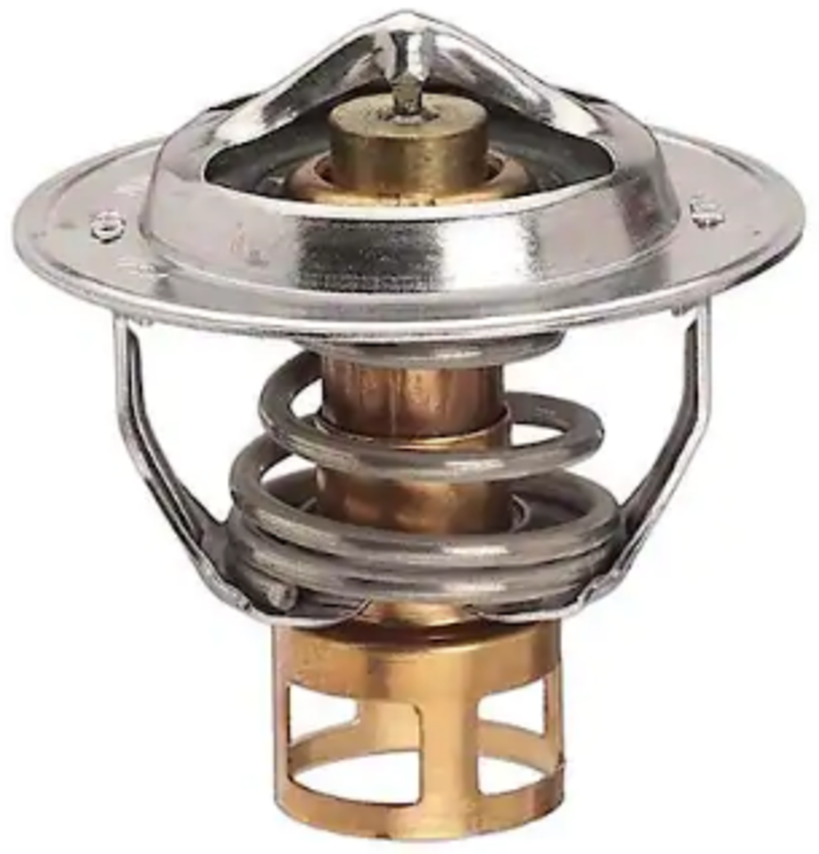 Automobile thermostat with cylindrical brass center containing wax