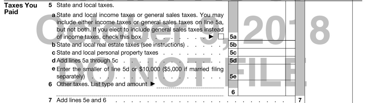 Schedule A, Taxes You Paid (draft, subject to change)