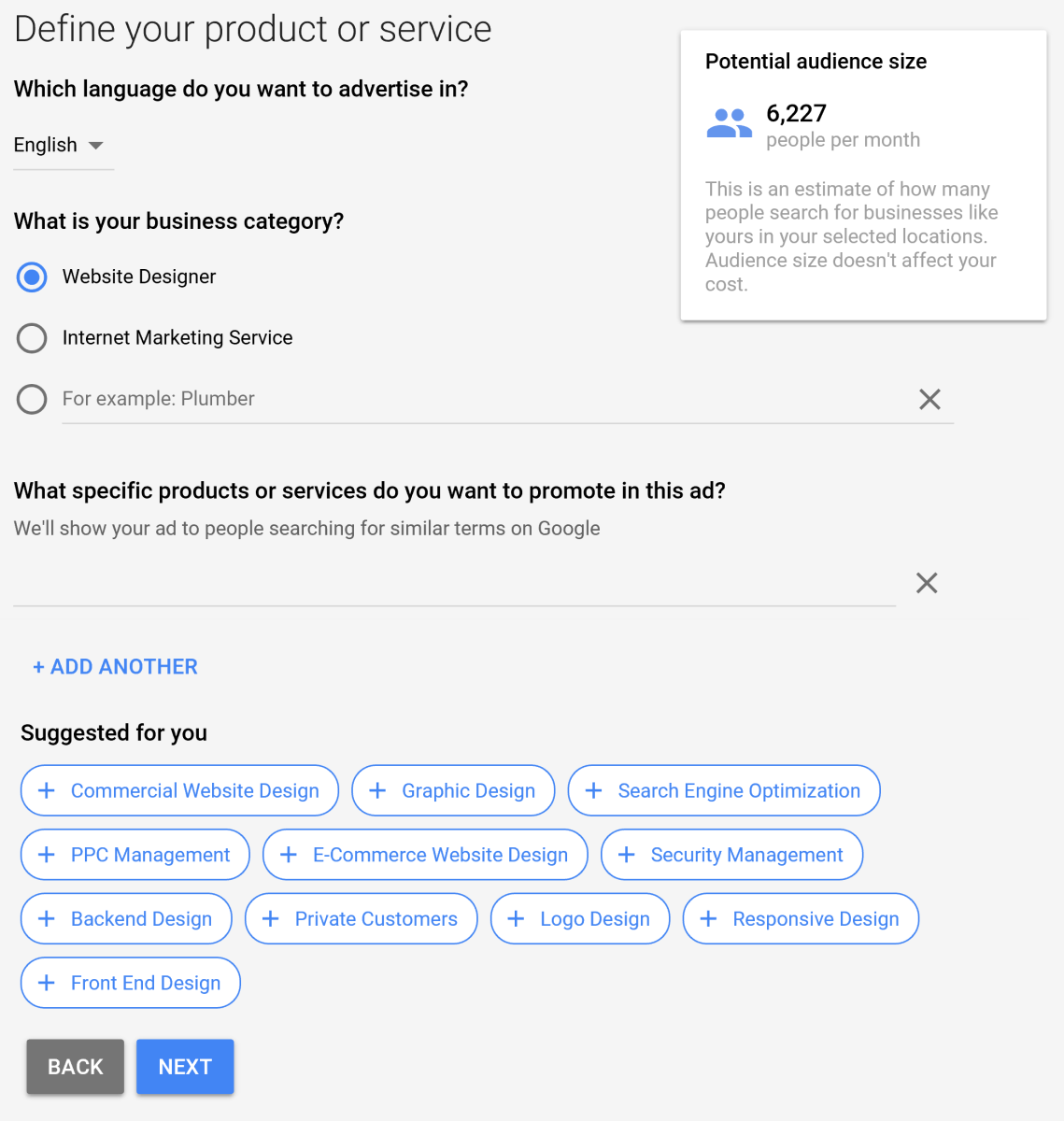 The AdWords that Google suggests can be used to let Google know when to display your ad. The suggested words don't have to be used and you are welcome to creating you own words.