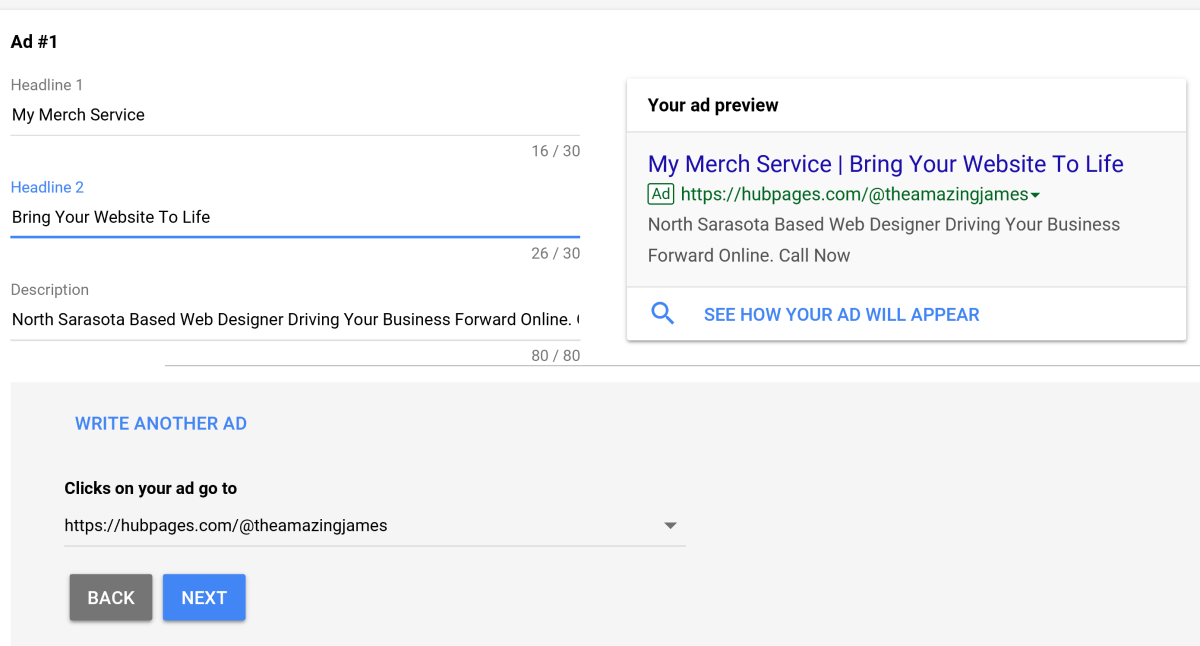 This is the ad that will appear when people are searching with your AdWords. Make sure the messaging is correct and have others review the ad to ensure a clear connection to the needs of potential consumer is well established.