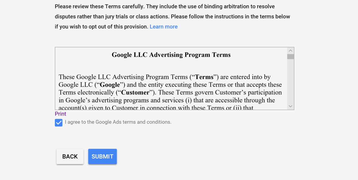 The campaign agreement appears on the last page of the Google Ads set up process. The top of this page requires the advertiser to fill in their address and billing information.