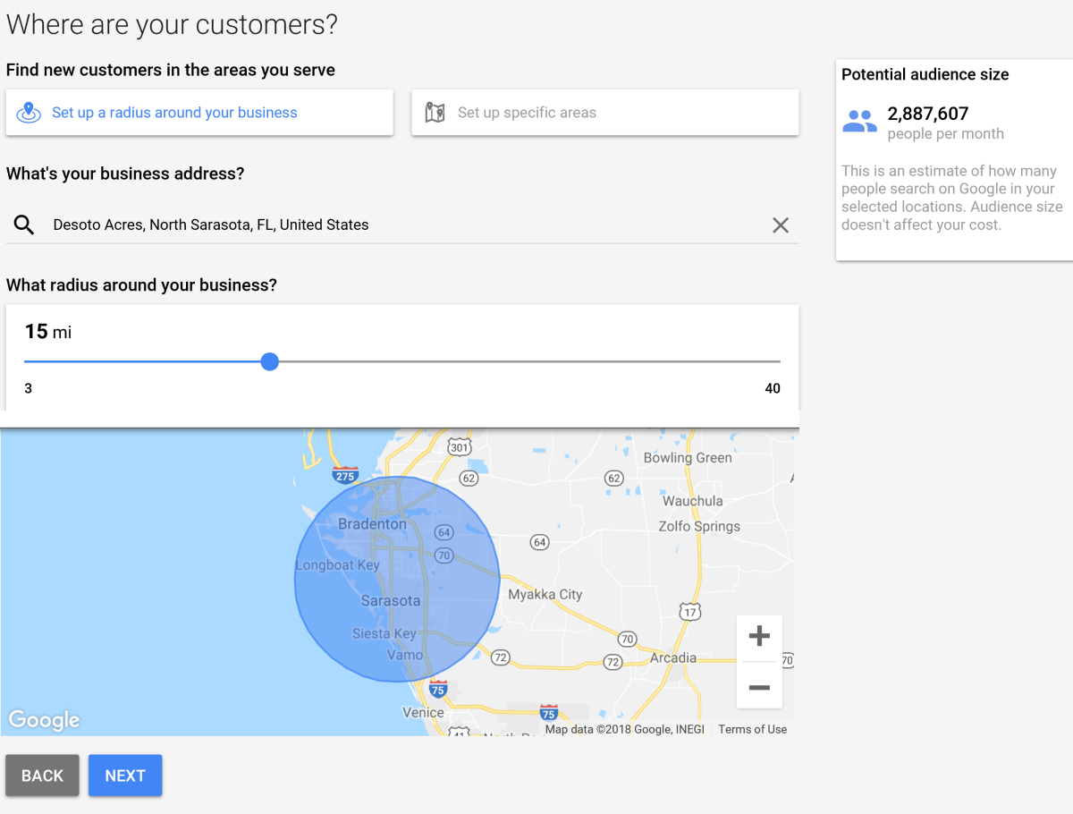 The default geographic area for a target market is a 15-mile radius around the advertiser's current location. This area can be expanded, or other locations can be added to increase the possilble audience size for the campaign.