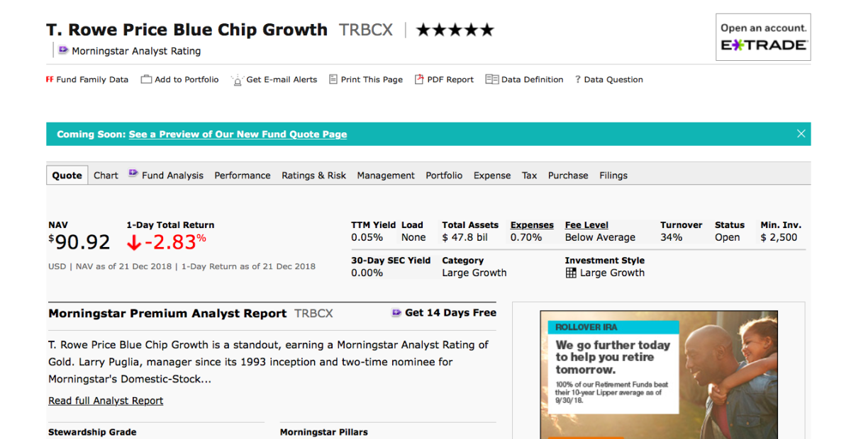 A snapshot of the T-Rowe Price Blue Chip Growth Fund.  This page offers great information on individual funds.